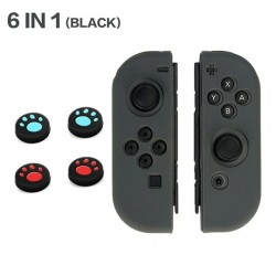 Nintendo Switch controller siliconen hoesje - 6 in 1 - met thumb stick cover - kattenklauw print