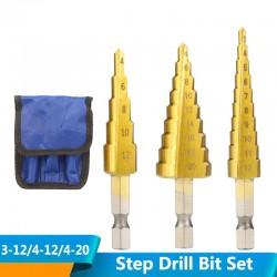 HSS-trapsboorset - voor hout / metaal - 3-12 mm / 4-12 mm / 4-20 mm 3 stuks