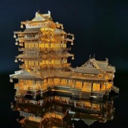 Oud Chinees herenhuis - 3D metalen puzzel - met LED-licht
