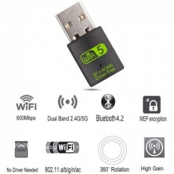 USB 2.0 - Wifi receiver - adapter with Bluetooth - 600Mbps 2.4G 5G