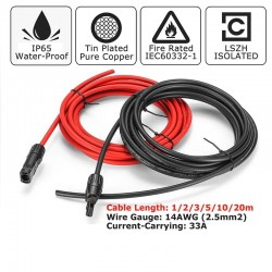 Solar panel cable - 2.5mm 14 AWG - with connector - black / red - 1M / 2M/ 3M / 5M / 10M