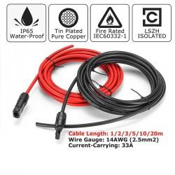 Zonnepaneel kabel - 2.5mm 14 AWG - met connector - zwart / rood - 1M / 2M / 3M / 5M / 10M