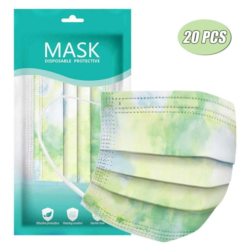 Mond- / gelaatsmaskers - 3-laags - wegwerp - tie-dye