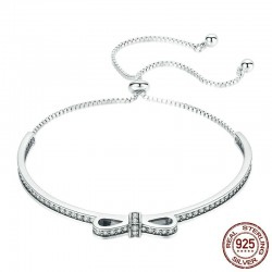 Elegante kristallen armband met strik - verstelbaar - 925 sterling zilver