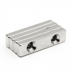 N35 - neodymium magnet - block - with double 5mm holes - 40 * 10 * 5mm - 3 pieces