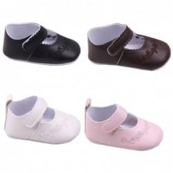 Leren schoenen - met bloemmotief - voor newborns / baby's