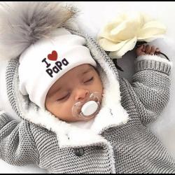 I Love Mama & Papa - warme katoenen muts met pompon - voor newborns / kids
