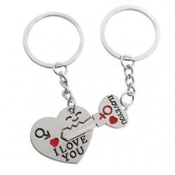 I Love You - heart & key metal keyring - 2 pieces