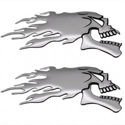 3D chromen spookschedelkop - auto & motor sticker 2 stuks