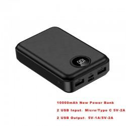 RAXFLY - mini power bank - portable charger - external battery - 10000mah - LED
