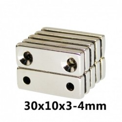 N35 - neodymium magneet - rechthoekig - met dubbele gaten van 4 mm - 30 * 10 * 3 mm