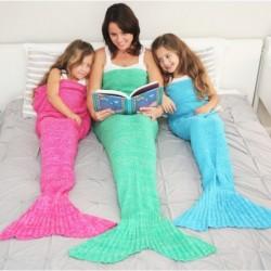 Gebreide gehaakte deken - met zeemeerminstaart - unisex
