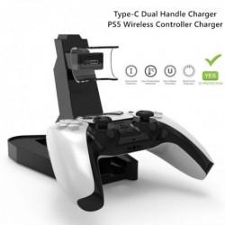 Oplader voor PS5-controller - oplaadstation - dubbele handgreep - draadloos - USB - LED