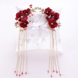 Red rose flower - crystal hair clip - with long tassels
