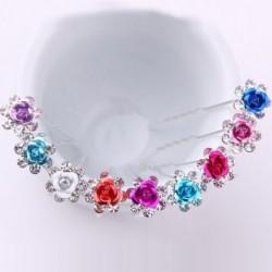 Luxe haarspelden met kristallen bloemen - 200 stuks