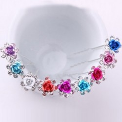 Luxurious hair pins with crystal flowers - 200 pieces