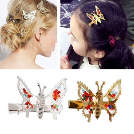 Hollow-out butterfly - hair clip with crystal decorations