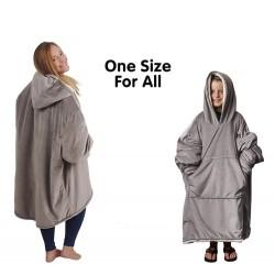 Warme fluwelen pyjama - oversized - met zakken / capuchon - omkeerbaar - zachte deken - unisex