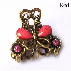 Crab / butterfly shaped retro hair clip - with crystals