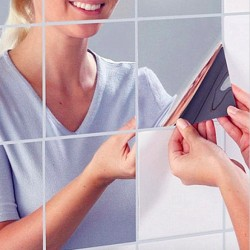 Bathroom DIY Square Mirror Tile Wall Sticker 9 pcs