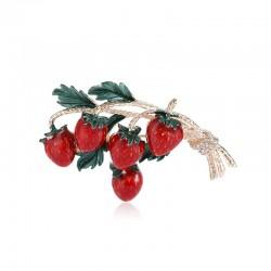 Elegant brooch with a sprig of strawberries