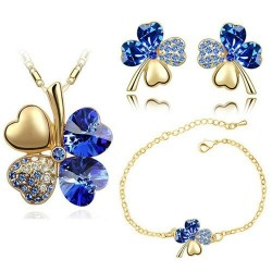 Multi colored - four leaf clover shaped - necklace / earring set