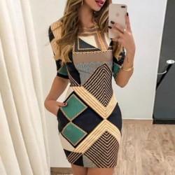 Fashionable short sleeve dress - geometric shapes design