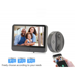 Smart peephole doorbell camera - WiFi - PIR motion - with app control