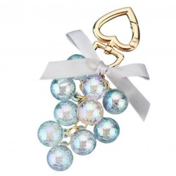 Crystal grapes - keychain with ribbon bowknot