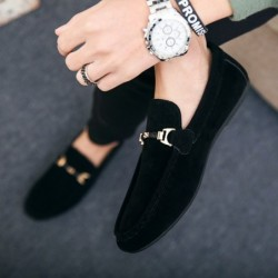 Trendy leather slip-on shoes - non-slip loafers - with metal decoration