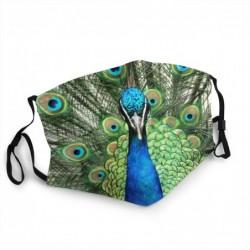 Beschermend gezichts-/mondmasker - herbruikbaar - waterdicht - groene pauwprint