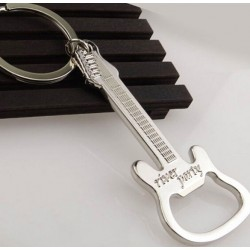 Gitaarvormige flesopener - metalen sleutelhanger