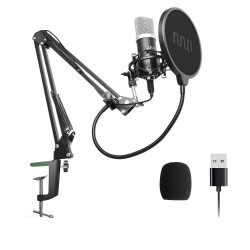 Podcast condensator microfoon - professionele PC streaming cardioïde - kit - USB - 192kHZ/24bit