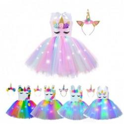 Eenhoornjurk - kostuum voor meisjes - met hoofdband / LED-verlichting
