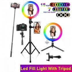 Selfie LED ring - RGB - dimbare invulverlichting - met statief - voor fotografie/make-up/video