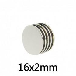 N35 - neodymium magneet - sterke ronde schijf - 16 * 2 mm