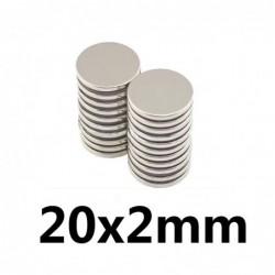 N35 - neodymium magneet - sterke ronde schijf - 20 * 2mm