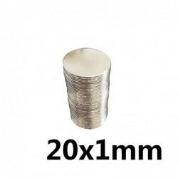 N35 - neodymium magneet - sterke ronde schijf - 20 * 1 mm