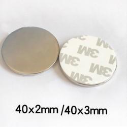 N35 - neodymium magneet - sterke ronde schijf - met 3M dubbelzijdige tape - 40 * 2 mm / 40 * 3 mm