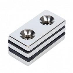 N52 - neodymium magneet - sterk verzonken blok - 40mm * 20mm * 5mm - met dubbel 5mm gat - 3 stuks
