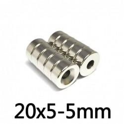 N35 - neodymium magneet - supersterk rond verzonken - met 5mm gat - 20mm * 5mm
