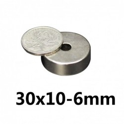 N35 - neodymium magneet - sterk rond verzonken - met 6mm gat - 30mm * 10mm