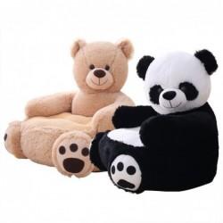 Kleine bank in de vorm van een beer / panda - zitting - pluchen speelgoed - voor kinderen