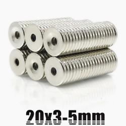 N35 - neodymium magneet - ronde verzonken schijf - 20 * 3mm - met 5mm gat