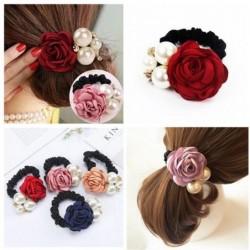 Elegante elastische haarband - met rozen / parels