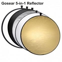 5 in 1 Fotografiereflektor - zusammenklappbare runde Scheibe - mit Tasche - 60cm