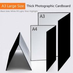 Dik fotokarton - opvouwbaar - wit / zwart / zilver reflecterend papier - A3 / A4