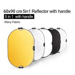 5 in 1 Fotografiereflektor - Lichtdiffusor - mit Griff / Tragetasche - 60 * 90cm
