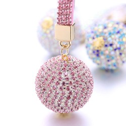 Crystal ball - keychain with leather strap