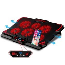 Laptop cooling pad / stand - 6 ventilatoren - LED - draagbaar - verstelbaar